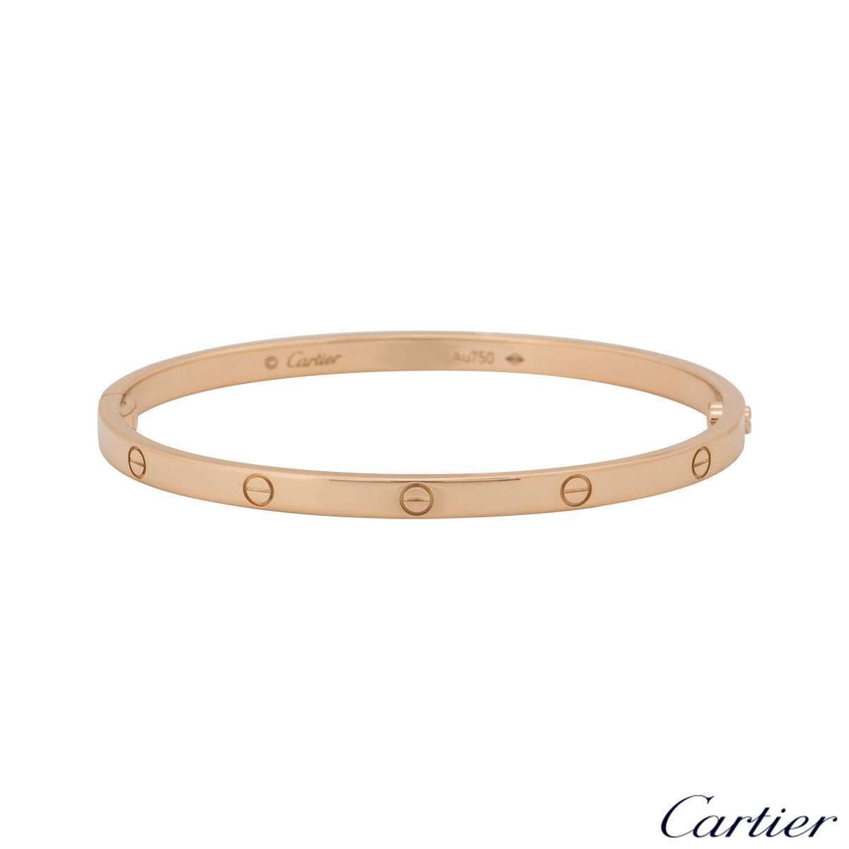 Cartier Rose Gold Plain Love Bracelet SM Size 18 B6047318